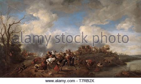 Philips-Wouwerman-A cavalry battle - Stock Photo