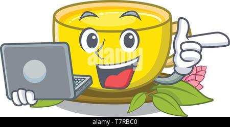 With laptop turmeric tea isolated in the character - Stock Photo