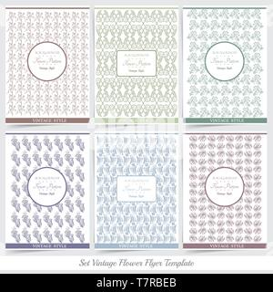 Set of Creative Cards with Floral Textures - Stock Photo