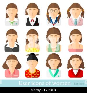Set of women icons in flat style. Different occupations age and style - Stock Photo