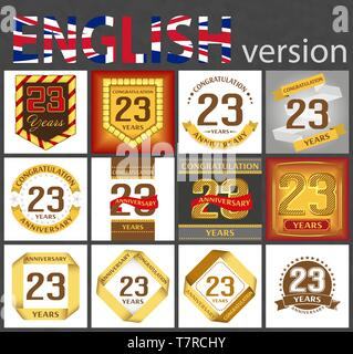 Set of number twenty-three years (23 years) celebration design. Anniversary golden number template elements for your birthday party - Stock Photo