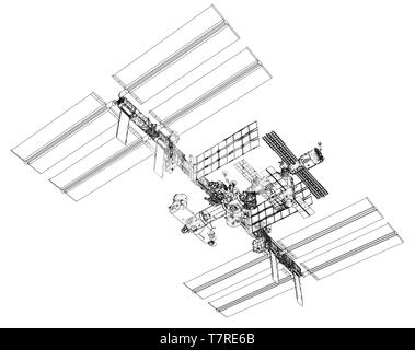 International Space Station Outline. Vector - Stock Photo