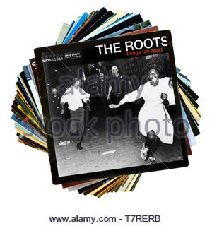 The Roots, Things Fall Apart album, stack of LP records, England - Stock Photo