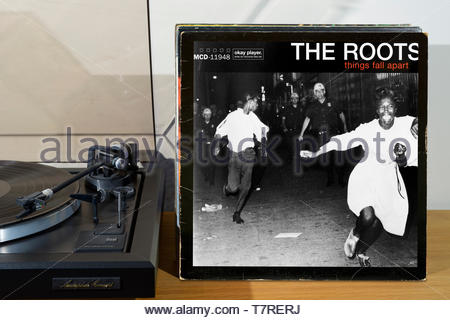 The Roots, Things Fall Apart album, record player and album, England - Stock Photo