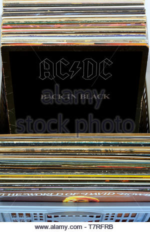 AC/DC, Back In Black album, albums in a box of second-hand LP records, England - Stock Photo