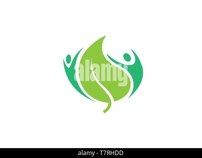 Healthy natural body human care logo - Stock Photo