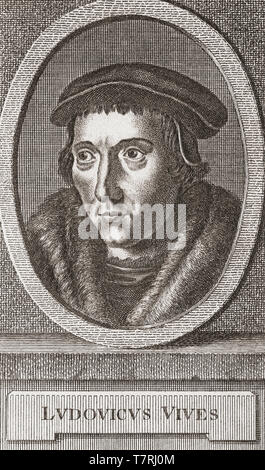 Juan Luis Vives, 1493 –1540.  Spanish scholar and humanist.  After an 18th century print. - Stock Photo