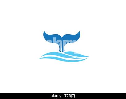 Whale diving deep in the sea and show Tail up for Logo design - Stock Photo