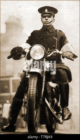 1930's a new Road Traffic Act saw motorcycle police  appearing regularly on British Roads - Stock Photo
