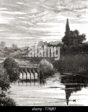 The River Thames at Caversham, Reading, England, seen here in the 19th century.  From English Pictures, published 1890. - Stock Photo