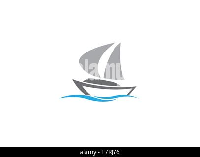 Sails boat in the sea, yacht sailing logo design illustration on white background - Stock Photo