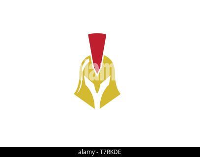 Spartan with golden Helmet for Logo design - Stock Photo