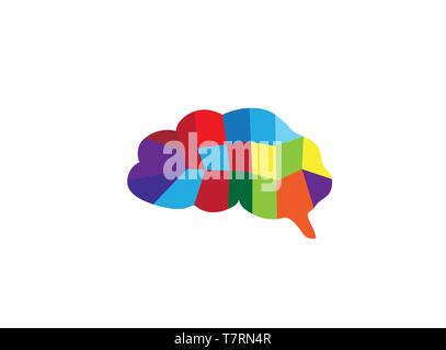 brain multi colors parts for logo design - Stock Photo