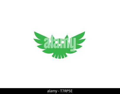 Owl open wings and fly for logo design - Stock Photo