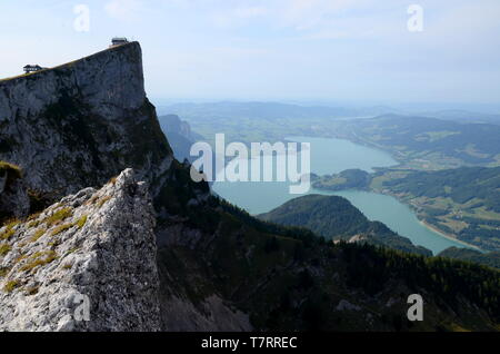 View of Lake Mondsee from Mount Schafberg - Stock Photo