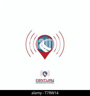 Pin Map Is an illustrative cartoon logo for map, pin, location, navigation, track logo - Stock Photo