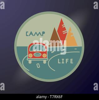 Round sticker in retro style. Inscription Camp Life. Travel emblem. Road tourist. Typography concept for printing. Vacation in the mountains - Stock Photo