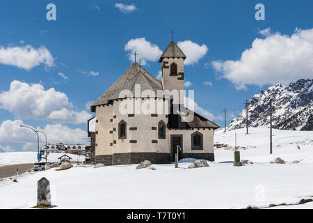 Chapel at San Pellegrino Pass, Passo San Pellegrino, Dolomites, Italy - Stock Photo