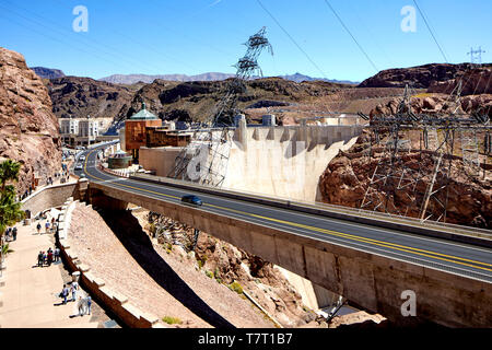 Boulder City Hoover Dam Black Canyon of the Colorado River, on the border between the U.S. states of Nevada and Arizona - Stock Photo
