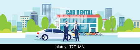 Sale or car rental concept. Vector of a salesman giving automobile keys to a customer on a city showroom background - Stock Photo