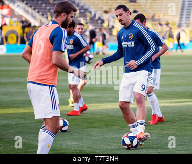 May 8, 2019: Los Angeles Galaxy forward Zlatan Ibrahimovic (9) during wrm ups before facing Columbus Crew SC in their game in Columbus, Ohio, USA - Stock Photo