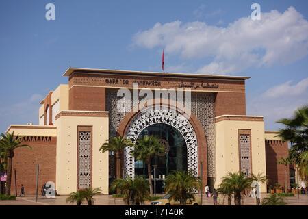 MARRAKESH, MOROCCO –29 MAR 2019- View of the Gare de Marrakech, the landmark train station in Marrakesh, Morocco. - Stock Photo