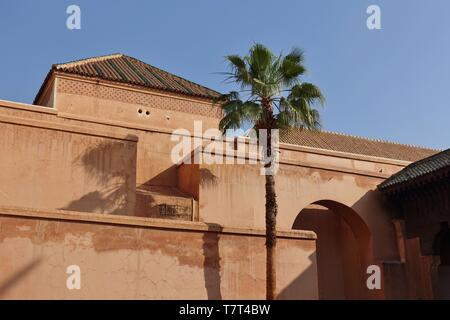 MARRAKESH, MOROCCO –29 MAR 2019- View of the Saadian Tombs, a landmark mausoleum near the Kasbah Mosque in Marrakesh, Morocco. - Stock Photo