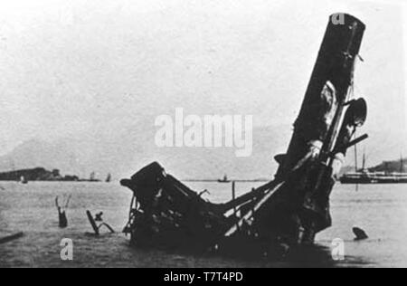 The sunken Yangwu after the Battle of Foochow. - Stock Photo