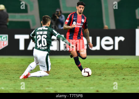 Sao Paulo, Brazil, May 08th, 2019 - PALMEIRAS(BRA)-SAN LORENZO(ARG) -   Match between Palmeiras and San Lorenzo (ARG), valid for the sixth round of Group F of the Copa Libertadores de América, held at Allianz Parque, in Pompéia, west side of Sao Paulo, on the night of Wednesday, 08. (Credit: Eduardo Carmim/Alamy Live News) - Stock Photo