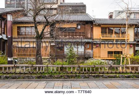 The backs of traditional Kyoto styled houses, Gion Shirakawa, Motoyoshicho, Higashiyama-ku, Kyoto, Honshu, Japan - Stock Photo
