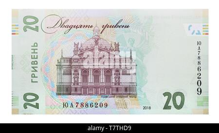 Ukraine, Eastern Europe. 8th Aug, 2018. New note 20 Ukrainian hryvnia - backside, sample 2018 Credit: Andrey Nekrasov/ZUMA Wire/Alamy Live News - Stock Photo