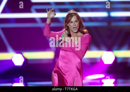 Berlin, Deutschland. 04th May, 2019. Andrea BERG, Germany, singer, musician, pop singer, singing, singing, concert, 'Welcome to Carmen Nebel' 15-year anniversary of the ZDF show on 04.05.2019 from the Velodrom Berlin,   usage worldwide Credit: dpa/Alamy Live News - Stock Photo
