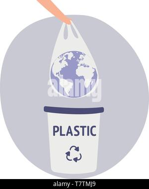 Earth in a plastic bag. Ecology conversation. Eco catastrophe. Segregation and recycling. Flat editable vector. Human hand holding the planet earth in - Stock Photo