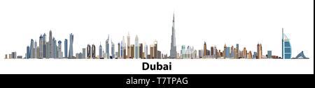 Vector illustration of Dubai city skyline - Stock Photo