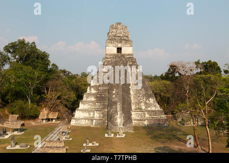 Tikal Guatemala, Temple 1, or Temple of the Great Jaguar, Mayan ruins UNESCO World Heritage site, Tikal National Park, Guatemala, Latin America - Stock Photo