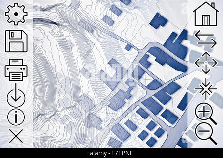 Online consultation of cadastral maps and territorial information - concept image with an imaginary cadastral map of territory with buildings, roads a - Stock Photo
