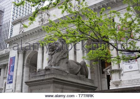 Exterior front entrance of The New York Public Library, New York, NY, May, 2019 - Stock Photo