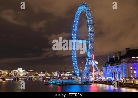 London Eye at night, London, United Kingdom. - Stock Photo
