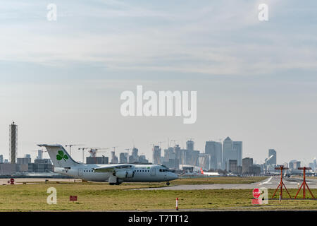 London, UK - 17, February 2019: CityJet a Irish regional airline based in Dublin, British Aerospace aircraft type Avro RJ85 at the London City Airport - Stock Photo