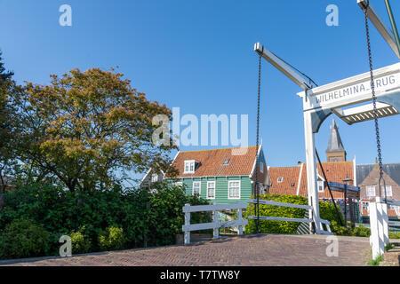 Wilhelmina drawbridge in Marken, The Netherlands - Stock Photo