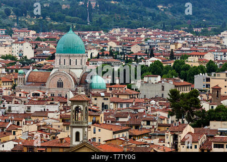 View of Florence, including The Great Synagogue - Stock Photo
