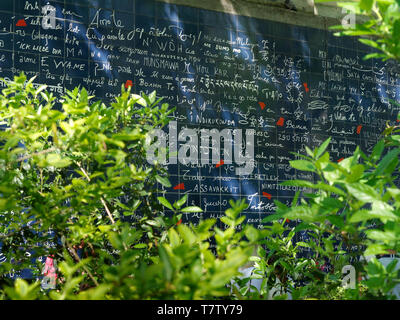 The Wall of Love in Montmartre, Paris, France - Stock Photo