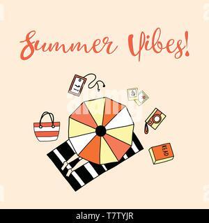 Summer vibes slogan vector illustration. Aerial view of sunbathing woman - Stock Photo