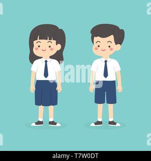 Cute Indonesian Junior High School Boy Girl Wearing Blue and White Uniform Cartoon Vector Illustration - Stock Photo