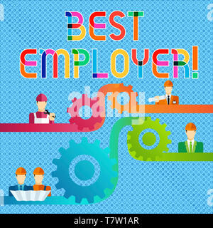 Handwriting text Best Employer. Conceptual photo creating a culture where employees feel valued and appreciated Cog Gear Setting Icon Connecting Men f - Stock Photo