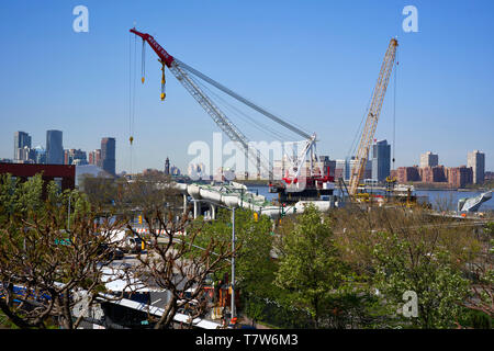 Hudson River Pier 55  also known as Diller park under construction in New York City - Stock Photo