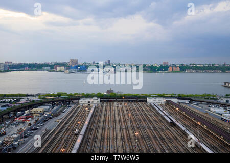 Panoramic view over the Hudson railroad yard and the Hudson River in New York City - Stock Photo