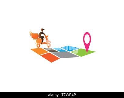 A delivery man riding the moto on the map for logo design - Stock Photo