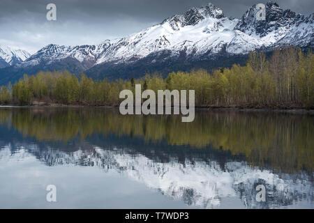 Alaska reflections in springtime - Stock Photo