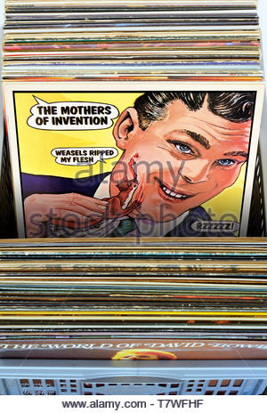 Frank Zappa, Mothers of invention, Weasels Ripped my flesh album, albums in a box of second-hand LP records, England - Stock Photo